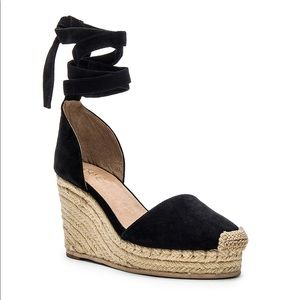 RAYE Dahlia Suede Lace Tie Up Espadrille Wedge 9